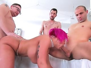 Three men fuck the married cougar until she swallows their jizz