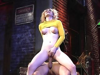 Young blonde rides the huge dick in insane manners