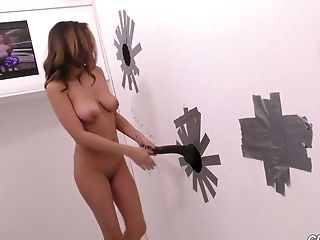 Slutty babe with super sexy cleavage Nina North goes wild in the glory hole room
