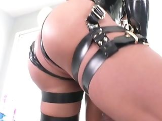 Shemale in latex outfit Gabriel DAlessandro fucks anus of one kinky dude