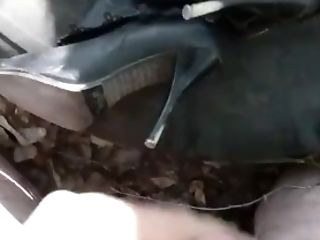 Shoe Fetish. Outdoor Masturbation