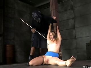 Horny black guy tortures the sexy AJ Applegate in his basement