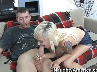 Tattooed blonde Emma Mae tantalizes Jordan Ash