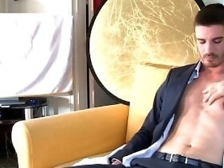 This str8 banker never thought he would show his big cock to us!