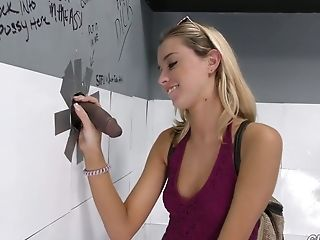 Skinny chick Haley Reed is vising glory hole room