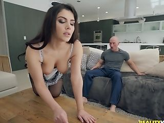 horny guy asks his pretty maid Valentina Nappi to satisfy his needs