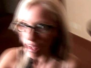 Four eyed filthy blondie swallows tasty hard dick of her guy in bedroom