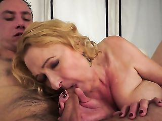 Blonde with juicy hooters is on the way to the height of pleasure with hard dick fucking her love box