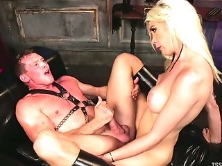 Transsexual mistress Aubrey Kate punishes deep throat and anal hole of submissive dude