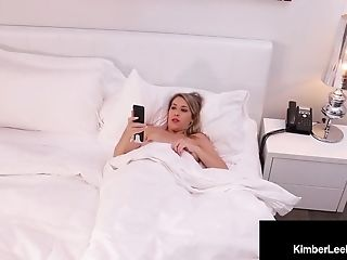Dirty Blonde Kimber Lee Strokes Her Pussy With Black Dildo!