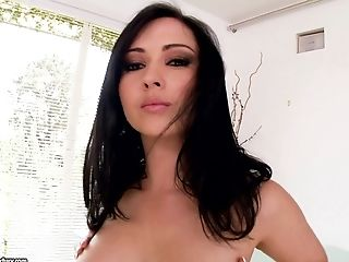 Angell Summers with round boobs and butt masturbates