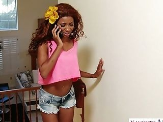 Ebony chick September Reign fucks white boyfriend of best girlfriend