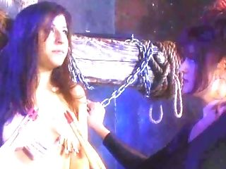 Slut gets chained up and tortured by her GF in BDSM fetish film