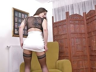 Long haired slutty all alone bitch Cathy Heaven is ready to pet her twat