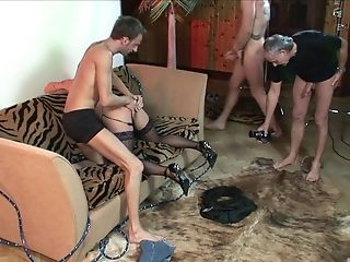 Kinky threesome with insatiable brunette MILF Victoria Brown