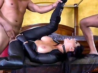 Slutty brunette obedient in front of three big cocks
