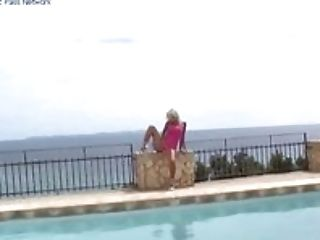 MILF poolside posing and fuck