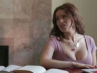 Mouth watering cleavage of Krissy Lynn makes young dude horny