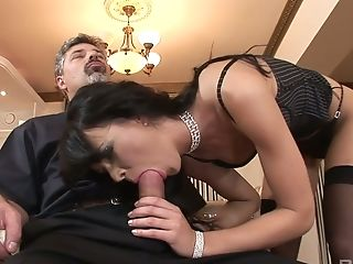 Sexy Slovak babe Suzie Diamond is serving three hot blooded studs