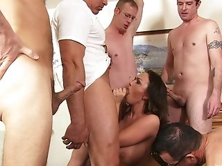 Sexy woman gets a lot of hungry cocks to ruin her wet holes