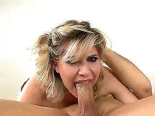 Suave blonde babe Jackie Avalon gags and drools while Jack H rams his fat cock down her throat