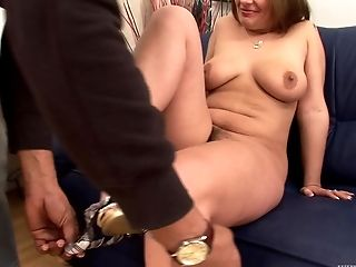 Curvaceous white slut fucked in her hot box by black cock
