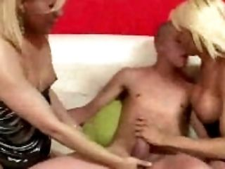 two sexy amateur blonde shemales suck on a studs cock