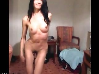 Green eyed ladyboy cums warm jizz blast all over her belly