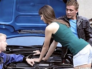 Mechanics with big peckers are here to satisfy her needs