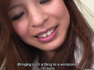 Exotic office babe gets her delicious pussy toyed by her horny co-worker