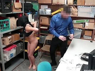 Shoplifting Arab babe in hijab Ella Knox gets her pussy punished in the back room