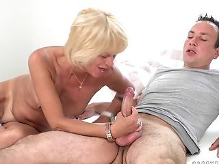 Blonde cougar Diane Sheperd gets to jump on a big stiff dick