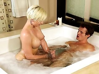 Soapy oral sex before the massage