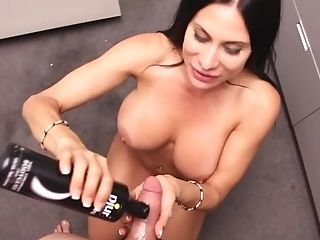 Stacked Sheila Marie uses her hands and big boobs to please a cock