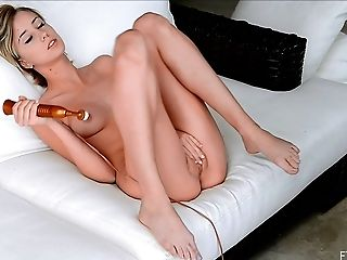 Solo model with the cutest face and her passionate pussy masturbation