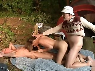 Two old men fuck a girl for her wiskhey