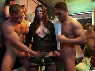 Sex-hungry and cum-thirsty bitches suck big dicks at the party